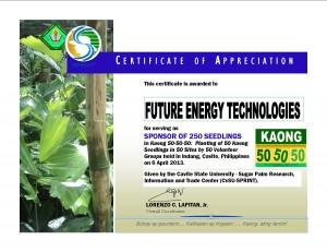 Seedlings Sponsor (FENERTECH) - Certificate of Appreciation
